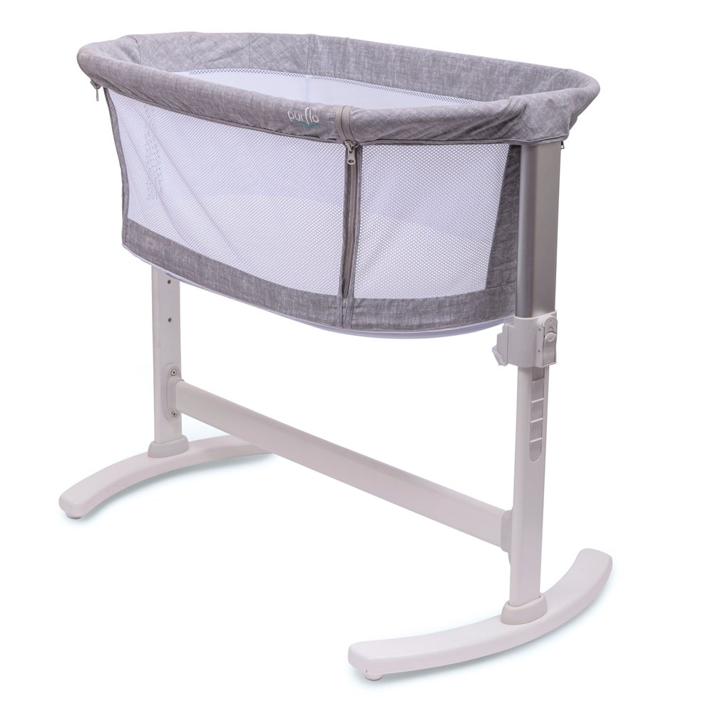 Bedside Crib Marl Grey Side