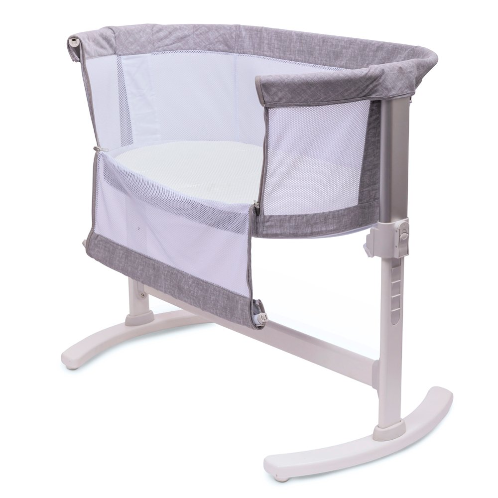 Bedside Crib Marl Grey Open Side