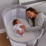 Bedside Crib Marl Grey with Mum