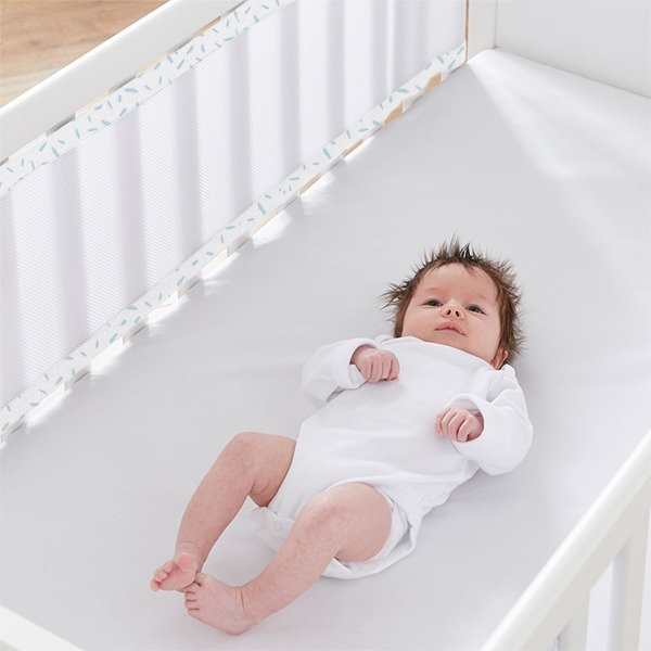 Breathable Cot Bumpers - Misty Blue in cot