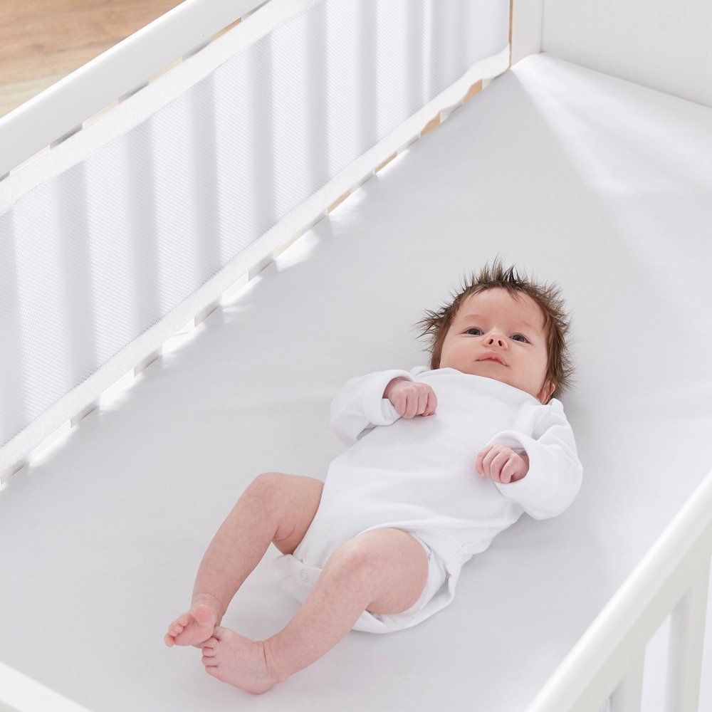 Breathable Cot Bumpers - Soft White in cot