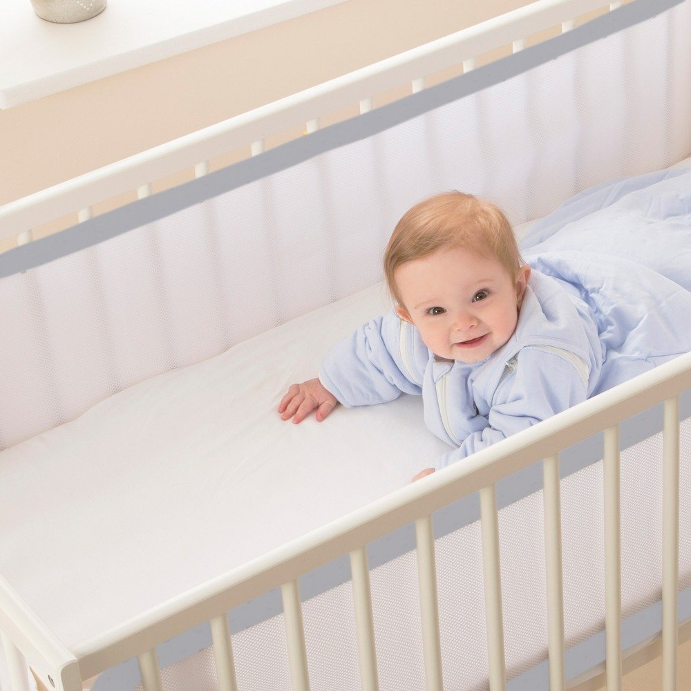 Breathable Cot Bumpers - Cloud Grey in cot with baby