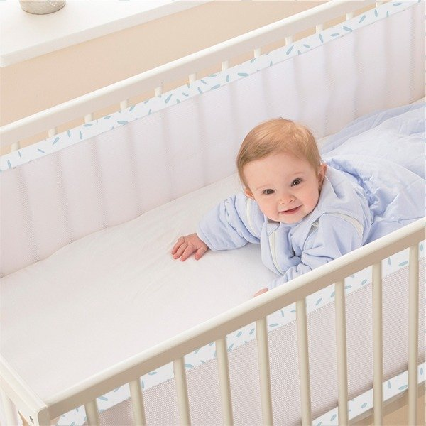Breathable Cot Bumpers - Misty Blue in cot with baby
