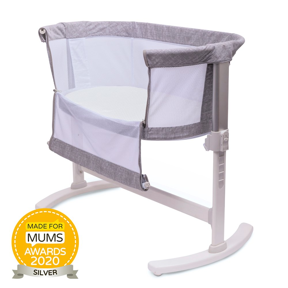 Breathable Bedside Crib Grey with Made for Mums Award