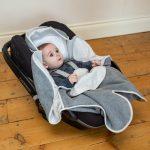 Cosy Wrap Travel Blanket Grey - Car Seat Half Open