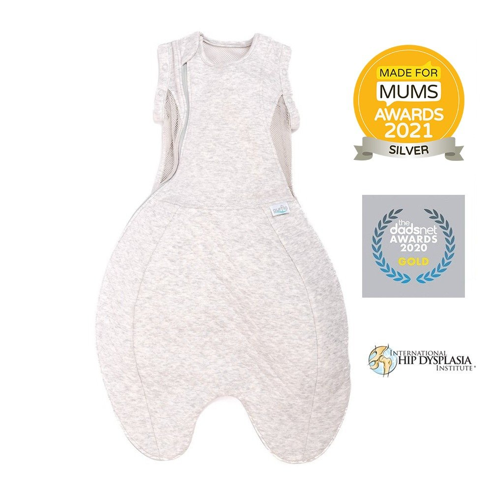 Purflo Swaddle to sleep bag grey made for mums silver winner