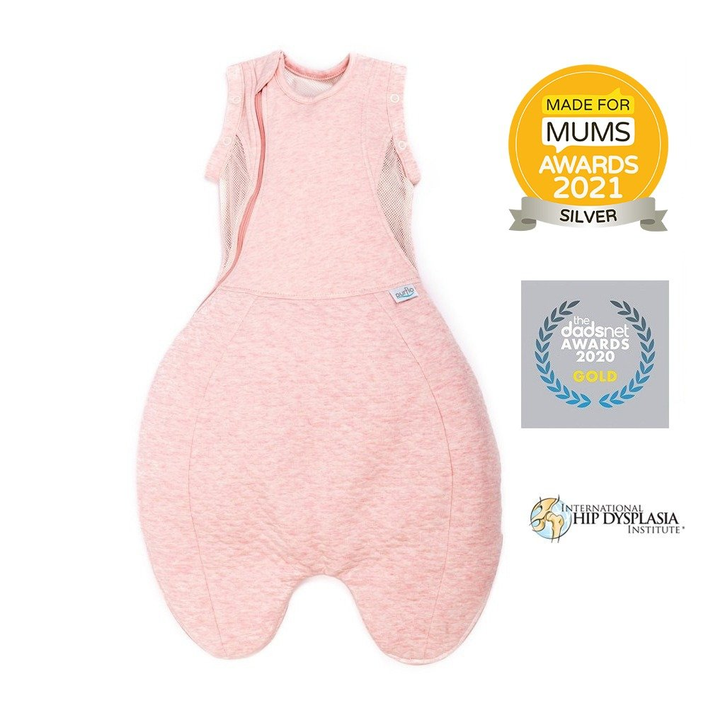 Purflo Swaddle to sleep bag pink made for mums silver winner