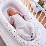Scandi Spot Baby Bed - baby asleep