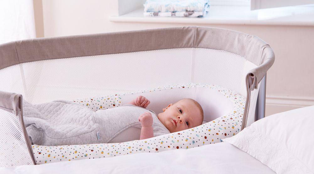 Scandi Spot Baby Bed - baby awake