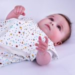 Baby in scandi spot Purflo baby sleep bag with breathable mesh panels