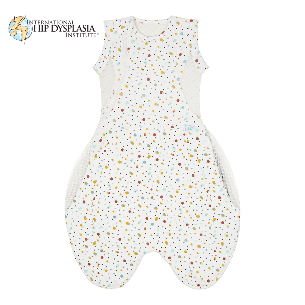 Purflo Swaddle to Sleep Bag Scandi Spot can be used up to 4 months old with arms out